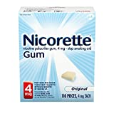 Nicorette Nicotine Gum Stop Smoking Aid, Unflavored, 4 mg, Original 110.0 Count