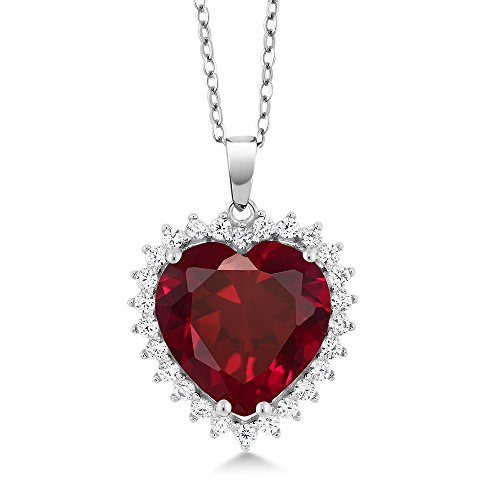 Gem Stone King 925 Sterling Silver Heart Shape Pendant Necklace For Women (1/2 Inch with Complimentary 18 Inch Silver Chain)