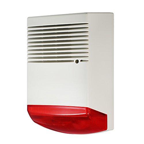 OWSOO Alarma de Casa Alarma de Luz y Sonido Flashlight Rojo 120dB Alarma Fuerte Impermeable para Seguridad de Hogar