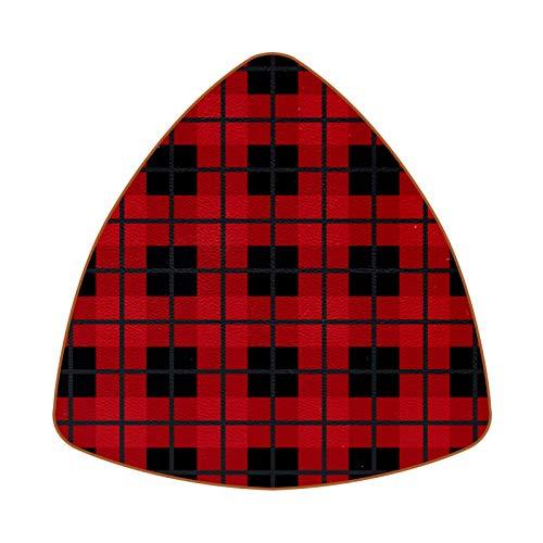Juego de 6 posavasos para bebidas, diseño de cuadros navideños, color rojo y negro