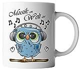 vanVerden Tazza – Musica an Welt – gufo con cuffie – Stampa su entrambi i lati – Idea regalo – Tazza da caffè, colore: bianco