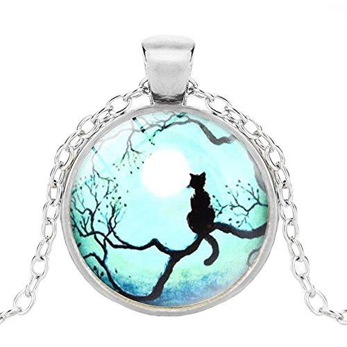 Collar gótico con colgante de cristal redondo de luna azul y cristal de cristal de la galaxia de gato