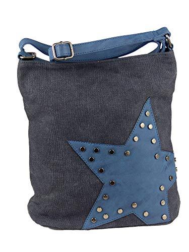yourlifeyourstyle Canvas Tasche aufgenähter Stern mit Nieten - Damen Mädchen Teenager Umhängetasche - Maße ohne Schulterriemen 27 x 30 cm (blau)