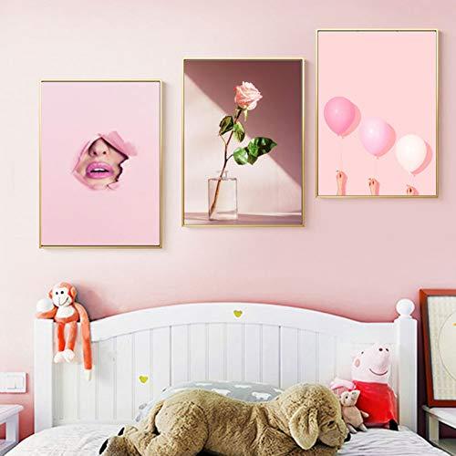 RHBNVR 30 x 40 cm 3 stuks roze ballon lippen muurkunst vrouwelijke canvas schilderij poster print bloem muur woonkamer decor