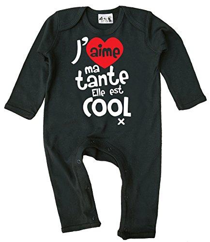 Dirty Fingers J'aime ma Tante. Elle est Cool x Barboteuse bébé Manche Longue 12-18 Mois Noir