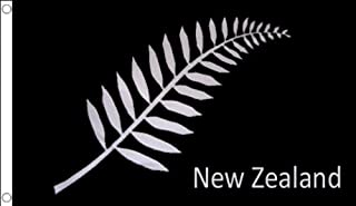 New Zealand Fern Flag 2' x 3' - Black New Zeleander Flags 60 x 90 cm - Banner 2x3 ft - AZ FLAG