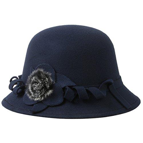 ZUMUii Butterme Mujeres Mujer Vintage Lana Round Bowler Hat Fedora Derby Sombreros Vintage Cloche Sombreros Bucket Cap Sombrero Azul Marino Talla ¨²nica