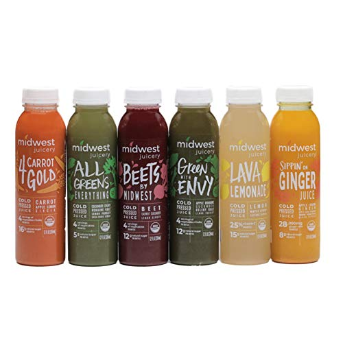 Midwest Juicery 2-Day Organic Juice Cleanse, Cold Pressed, Low Natural Sugar, 4 Servings of Vegetables and Fruit per Bottle, RAW, Nutrient Dense, 6 Flavors, Fresh Taste, Never Frozen (12 Bottles)