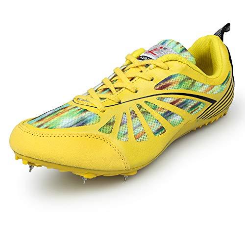 AIALTS Zapatilla Profesional De Sprint De Atletismo Y Cross Country, Competencia De Womwn De Hombres Jóvenes, Carrera, Entrenamiento, Salto Largo, Zapatilla De Deporte De Atletismo,Amarillo,44