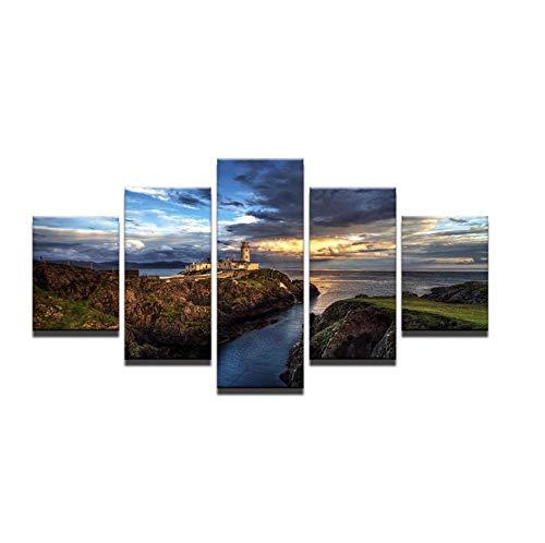 mashanglaile Pintura Cartel De La Pared Cuadro De La Pared 5 Placa Acantilado Empinado Faro Puesta De Sol Vista Al Mar Habitación Decoración para El Hogar