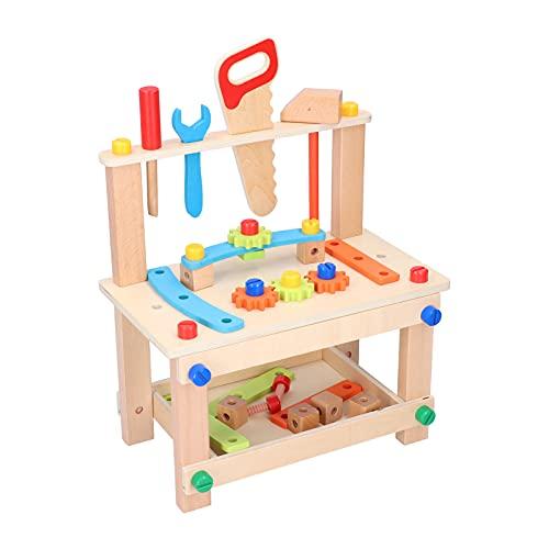 Atyhao Holzwerkzeug Werkbank Set, Holzwerkzeugbank Workshop Kinder Geben Vor, Lernspielzeug für Kleinkinder zu Spielen Kinder ab 3 Jahren(Original)