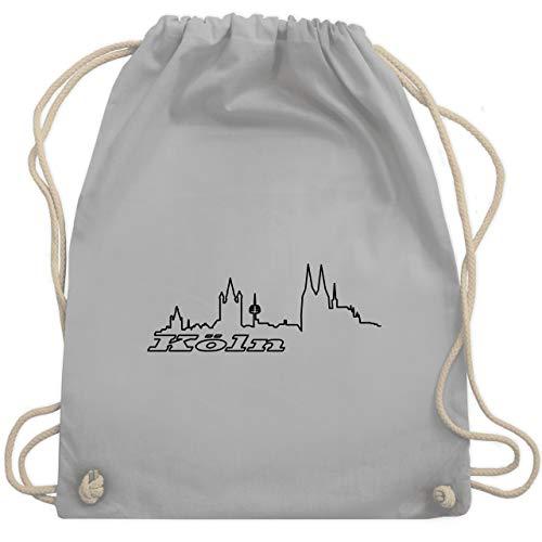 Shirtracer Skyline - Köln Skyline - Unisize - Hellgrau - köln tasche - WM110 - Turnbeutel und Stoffbeutel aus Baumwolle