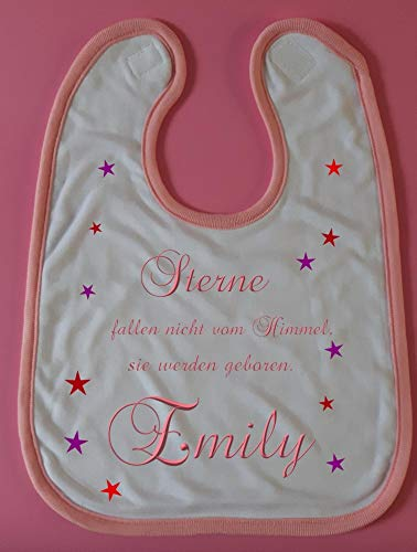 Babylätzchen Lätzchen Schlabberlatz bedruckt mit Spruch Sterne fallen nicht vom Himmel und dem Namen des Babys. Individuelles Geschenk personalisiertes Geschenk