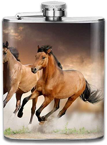 Presock flaschen für schnaps, schöne felder tiere himmel pferd geschenke top regal flaschen edelstahl kolben 7 unzen für männer frauen