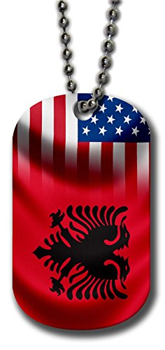 ExpressItBest Aluminum Dog Tag Necklace and Key Ring - Flag of Albania (Albanian) - Waves/USA