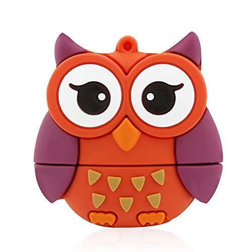 FIRSTMEMORY 64GB USB 2.0 Flash Drive, Cute Animal Owl Shape Thumb Drive Pen Drive Cartoon Memory Stick Novelty Pendrive Data Storage (64 GB, Owl)