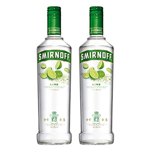 Smirnoff No. 21 Vodka Triple Destilled Flavour Lime, 2 Pezzi, Vodka, Limone, Alcol, Bevande alcoliche, 37,5%, 700 ml, 714088