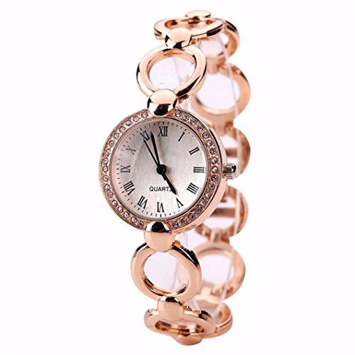 Jushye Clearance!!! Women's Wristwatch, Ladies Girls Watches Bracelet Montre Watch Simple Hot Temperament Rose Gold Classic Womens Quartz Watch Stainless Steel (A)
