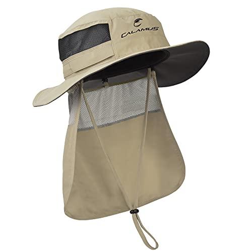 Calamus UPF 50 Boonie Sun Hat with Neck Shield – Sun Protection Fishing Hat Neck Flap, Beach & Hiking Hat, Golf Hat, Hunting Hat, Paddling, Rowing, & Kayaking, Khaki