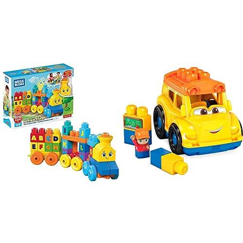 MEGA Bloks Tren Musical ABC, Juguete De Construcción para Bebé + 1 Año + Autobús Escolar, Juguete De Construcción para Niños + 1 Año