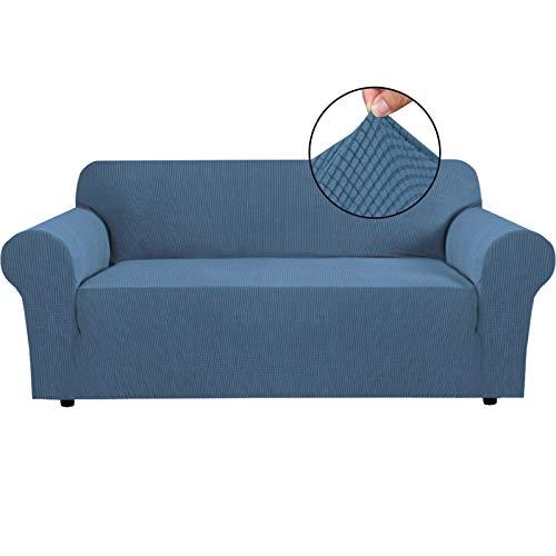 BellaHills Fundas de sofá elásticas Fundas de sofá de 3 plazas para Sala de Estar Fundas de sofá Fundas con Fondo elástico, Tela Jacquard Gruesa Suave Lavable (sofá de 3 plazas, Azul Polvo)