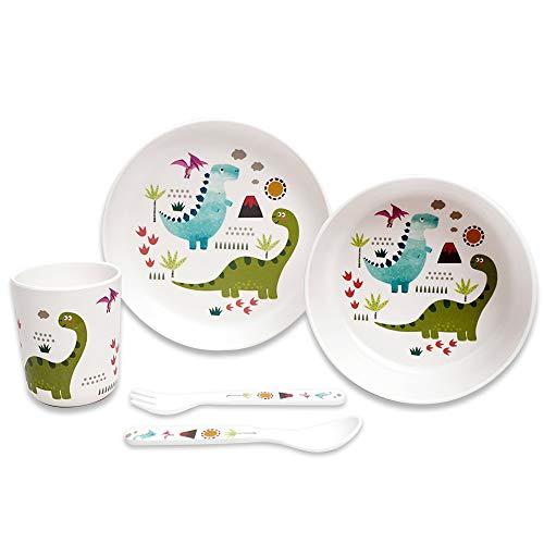 St Stehlen - Juego de 5 piezas (1 plato, 1 tazón, 1 vaso, 1 cuchara, 1 tenedor, 1 tenedor), diseño de dinosaurio