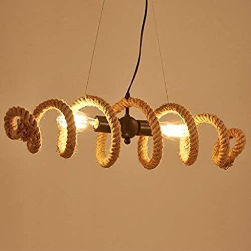 RUIXINBC Industriële Hanglamp Hennep Touw Hanger Lamp 2 Flame Retro Art Deco Kroonluchter Restaurant Woonkamer Verlichting