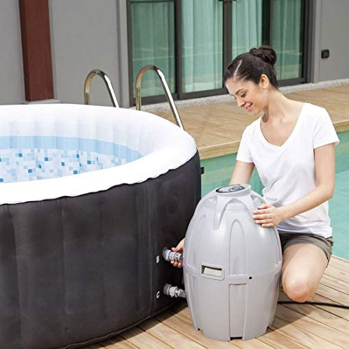 Coleman 13804-BW SaluSpa 4 Person Portable Inflatable Outdoor Round Hot Tub Spa with 60 Air Jets, Tub Cover, Pump, Chemical Floater and 3 Type VI Replacement Filter Cartridges, Black