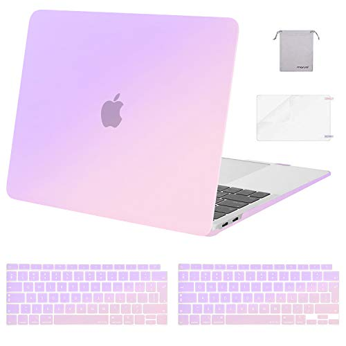 MOSISO MacBook Air 13 inch Case 2020 2019 2018 A2337 M1 A2179 A1932 Retina, Plastic Hard Shell & Keyboard Cover & Screen Protector & Storage Bag Only Compatible with MacBook Air 13, Gradient Purple