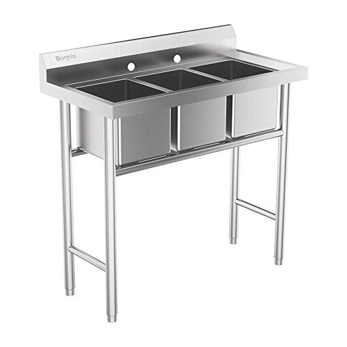 Bonnlo 3-Compartment 304 Stainless Steel Utility Sink Commercial Grade Laundry Tub Culinary Sink for Outdoor, Indoor, Garage, Kitchen, Laundry/Utility Room