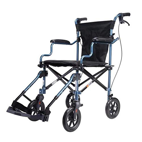 マルマル・モリモリ 超軽量折り畳み車椅子 介助型 軽量型搬送椅子 携帯式車椅子 軽量アルミ製 旅行用 外出用 お年寄りや子供向け 8.8KG耐荷重110KG 飛行機持ち込み可 (介助ブレーキ付き 「収納トロリーバッグ」)