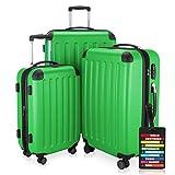 Hauptstadtkoffer® Set di valigie 49+82+128 litri con un lucchetto TSA Seria SPREE (Colore Verde con...
