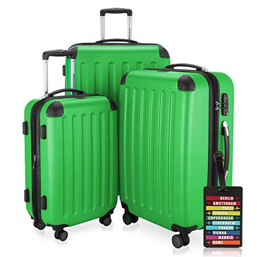 Hauptstadtkoffer - Spree - 3er-Koffer-Set Trolley-Set Rollkoffer Reisekoffer-Set Erweiterbar, TSA, 4 Rollen, (S, M & L), Apfelgrün inkl. Design Kofferanhänger