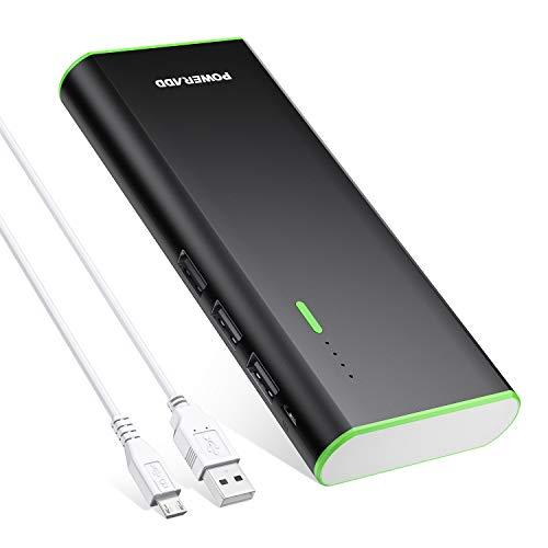 Batería Externa 10000mAh (3 USB Salida, 5V 2A, Más 2.5A, con Linterna) Power Bank Compatible con iPhone iPad Samsung Xiaomi Móviles Inteligentes y Tableta-Negro