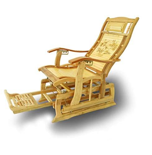 YAMEIJIA Rosige Stuhl Liegestuhl Erwachsener Klappstuhl Siesta Home Balkon Freizeit Sessel Alten Mann Bambusstuhl
