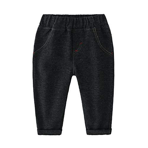 LAPLBEKE Baby Jungen Jeanshosen Tapered Fit Elastischer Bund Jeans Baumwolle Jeanshosen Hosen Schwarz 2-3 Jahre