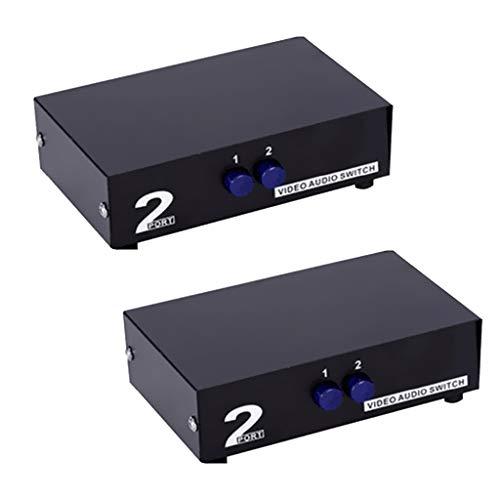 LOVIVER 2 Pièces 2 en 1 3RCA 2 Voies Audio Vidéo AV Commutateur Sélecteur Boîte de Sélection Noir