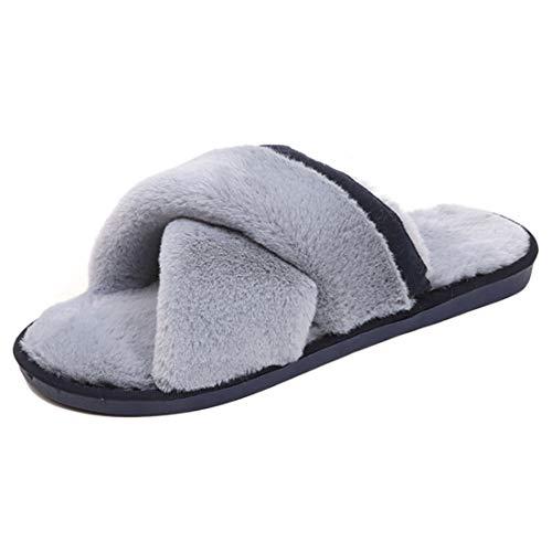 Huicai Ciabatte in Pelliccia da Donna Open Toe Donna Autunno e Inverno Caldo Caldo casa Indoor anit-Slip Scarpe Pantofole Interne