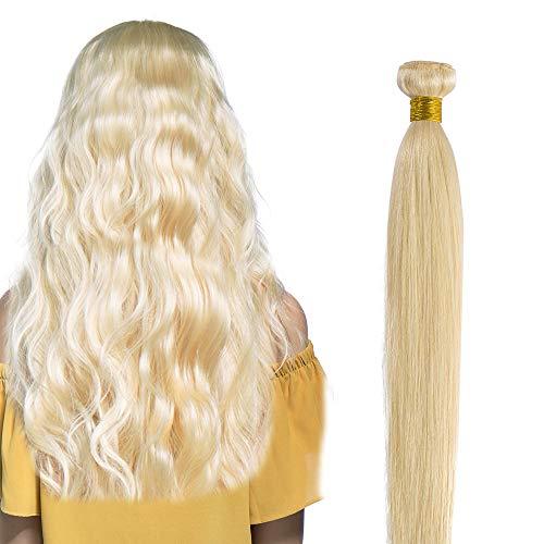 Human Hair Weave Glatt 100% Brasilianisches Virgin echthaar tressen Straight Remy Haarverlängerung #613 Hell-Lichtblond (25cm -100g)