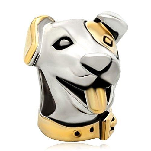 Pugster 22k Gold Silver Cute Puppy Dog Head Animal Bead Fits Pandora Charm Bracelet