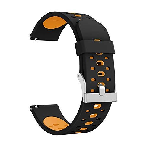 ZHONGGOZZ Para Samsung Galaxy Watch Active 2, 40 mm, 44 mm, correa de silicona Active2, 20 mm, para Huawei GT2, 42 mm, color de la correa: negro y naranja, ancho de la correa: 20 mm