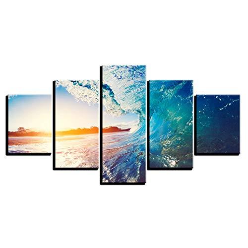 Suhang Decoratieposter modern schilderij op canvas Home Framework 5 panelen golven van de zee woonkamer muurkunst Hd gedrukte afbeeldingen 20x35 20x45 20x55cm Frame