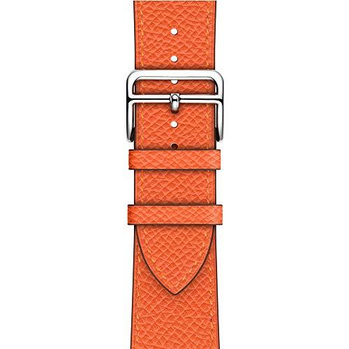 Banda De Cuero De Grano Genuino Para Apple Watch 5 4 44 Mm 42 Mm Bandas Iwatch Series 1 2 3 38 Mm 40 Mm Correa De Repuesto Brazalete De Reloj Para Iwatch Series Sports & Edition,Naranja,42MM/44MM
