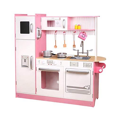 TikTakToo Kinderküche Spielküche aus Holz Kinderspielküche Spielzeugküche Holzküche Küche mit Backofen Spülmaschine Kühlschrank Mikrowelle und Zubehör rosa