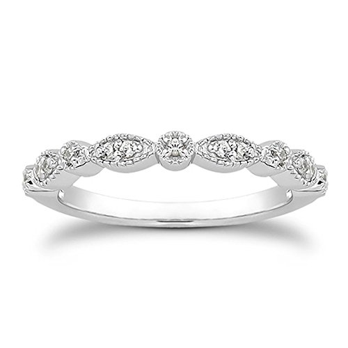 espere Milgrain Marquise & Round Cubic Zirconia Half Eternity Ring Stacking Infinity Wedding Band Sterling Silver Rings Rhodium Plated Size 7