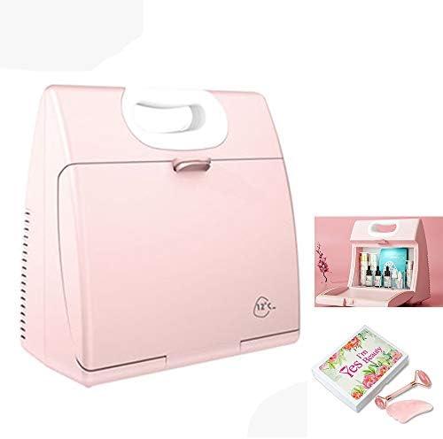 Mini Refrigerador Profesional Cosméticos / Refrigerador Portátil Belleza, Nevera Con Rodillo De Jade, Luz LED Incorporada, Utilizado Para Maquillaje Y Cuidado Piel, 5L Silencioso Nevera,Rosado