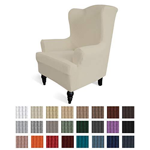 易穿的弹性翼背椅沙发套1件套沙发套家具保护套沙发柔软带弹性底,氨纶提花织物小格子(翼椅,象牙色)