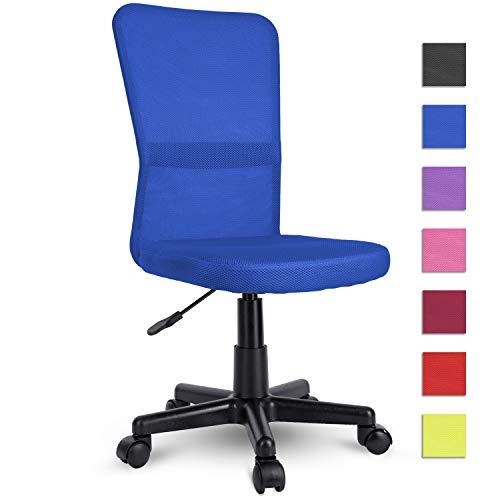 TRESKO Silla de Oficina Escritorio giratoria, Disponible en 7 Variantes de Colores, con Ruedas para Suelos Duros, Regulable en Altura de Forma Continua, Asiento Acolchado, Respaldo ergonomico (Azul)