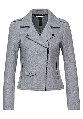 Street One Damen Biker-Jacke in Filzoptik City Grey Melange 36