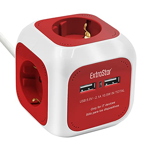 Extrastar PowerCube (Extended USB 1.5 m) Regleta de 4 Salidas, con 2 para Carga de USB 5V (Rojo)